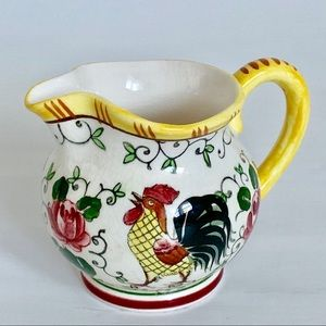 Vintage Japan Roosters and Roses Small Creamer